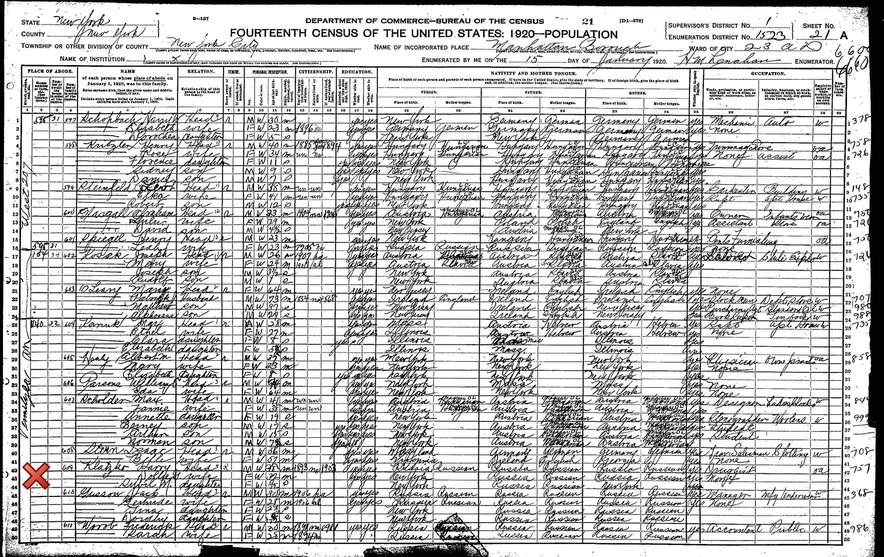 1920 United States Federal Census of Harry Klatzko Family