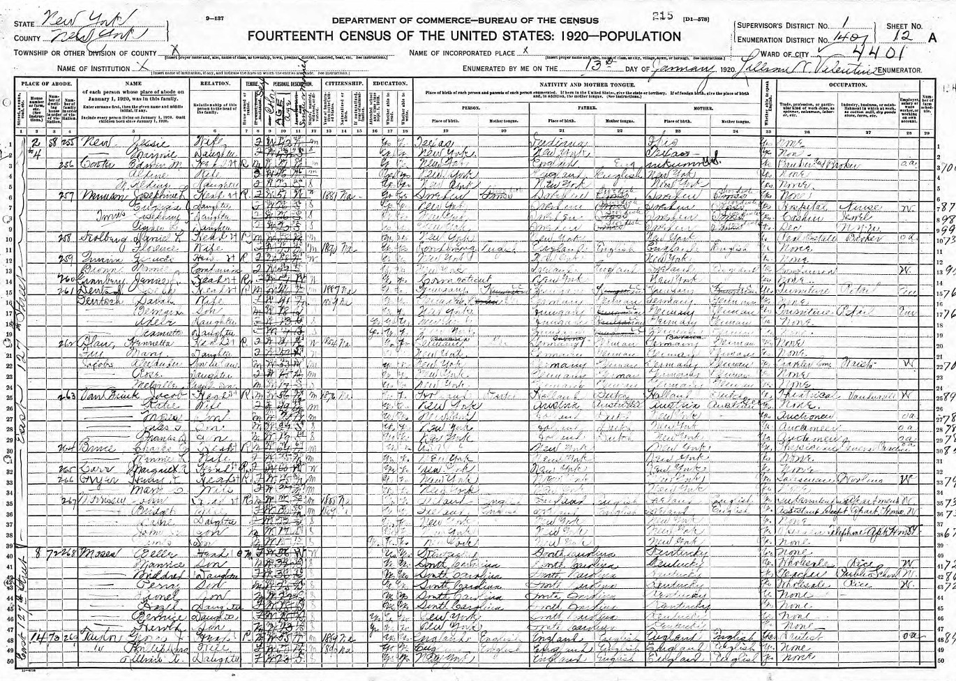 1920 United States Federal Census of Belle Moses Family