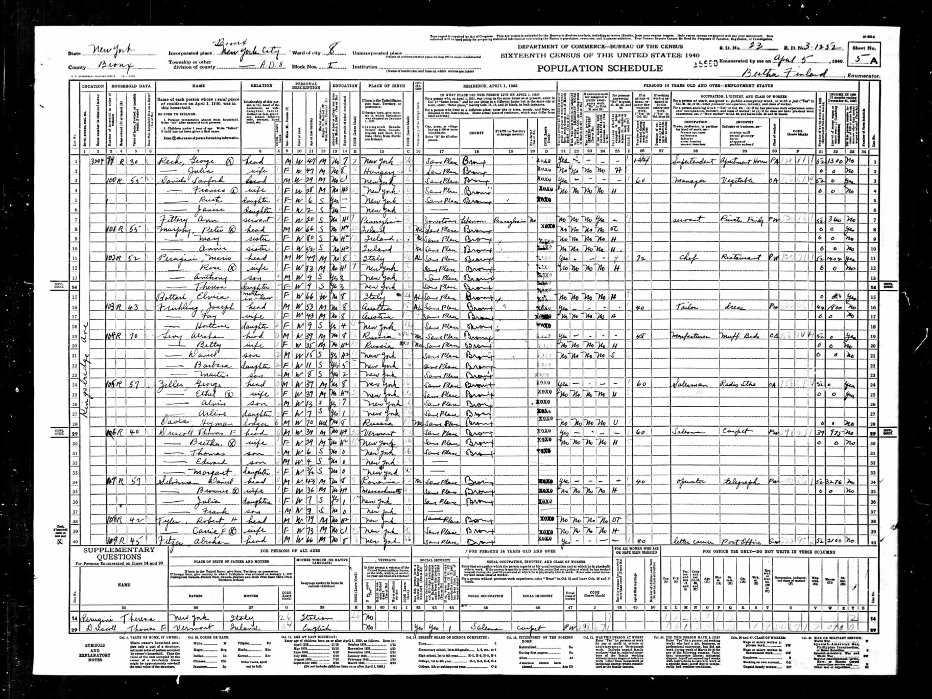 1940 United States Federal Census of Daniel Silverman Family