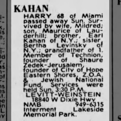 Obituary of Harry Kahan