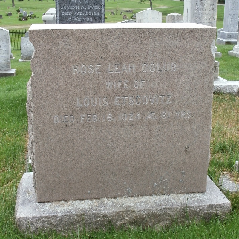 Rose Leah Golub Etscovitz (1863 - 1924) Find A Grave Memorial