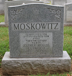 Esther Mollie Gurwitch Moskowitz (1904 - 1994) Find A Grave Memorial
