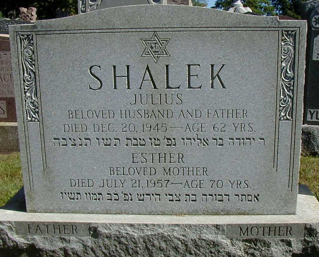 Headstone of Julius and Esther Arroll Shalek