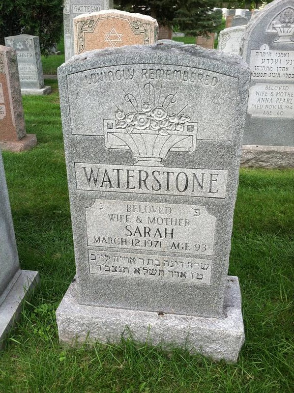 Sarah Waterstone ( - 1971) Find A Grave Memorial