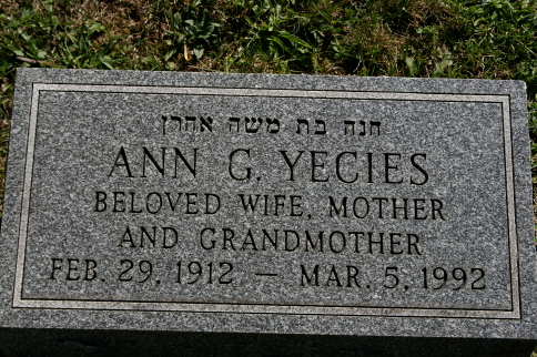 Ann G Yecies (1912 - 1992) Find A Grave Memorial